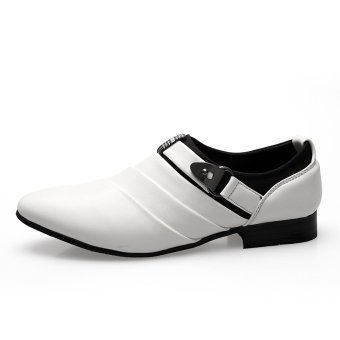 PINSV Men Formal Shoes Casual Loafers(White) - 4
