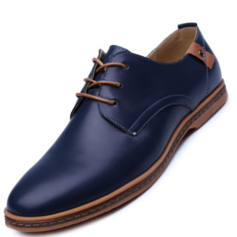 PINSV Men's Fashion Casual Oxfords Shoes (Blue)