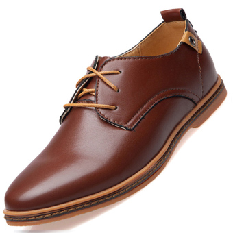 PINSV Men's Fashion Casual Oxfords Shoes(Brown)