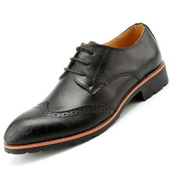 PINSV Mens British Style Bullock Oxford Leather Shoes (Black) - Intl