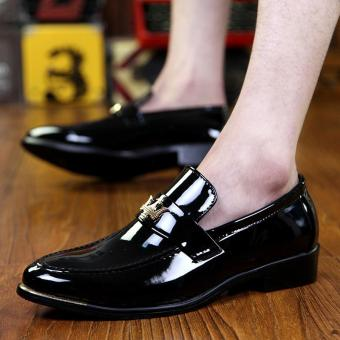 PINSV Patent Leather Men Formal shoes Loafers (Black) - 5