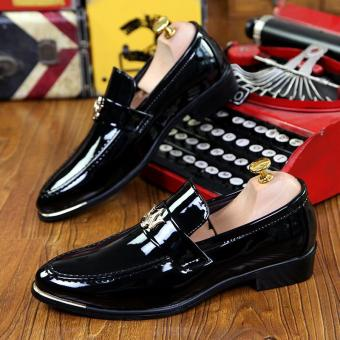 PINSV Patent Leather Men Formal shoes Loafers (Black) - 3