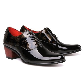 PINSV Patent Leather Men's Formal Shoes Casual Oxford Shoes (Black) - 4