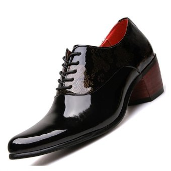 PINSV Patent Leather Men's Formal Shoes Casual Oxford Shoes (Black)