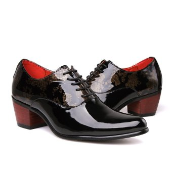 PINSV Patent Leather Men's Formal Shoes Casual Oxford Shoes (Black) - 5