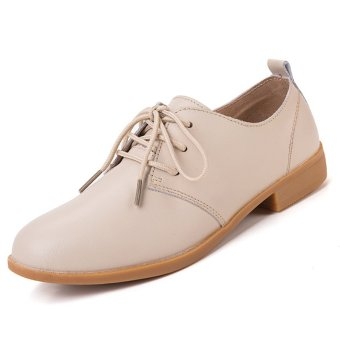 PINSV Women Casual Oxfords Shoes Brogues & Lace-Ups (Beige)