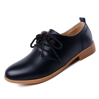 PINSV Women Casual Oxfords Shoes Brogues & Lace-Ups (Black)