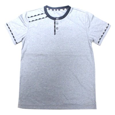 Plain Line Details Round Neck Shirt (Light Grey)
