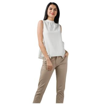 Plains & Prints Cotton Sleeveless Top (Offwhite)