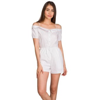 Plains and Prints Olivio Playsuit (White) Price Philippines