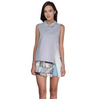 Plains and Prints Pecora Sleeveless Top (Gray/White)