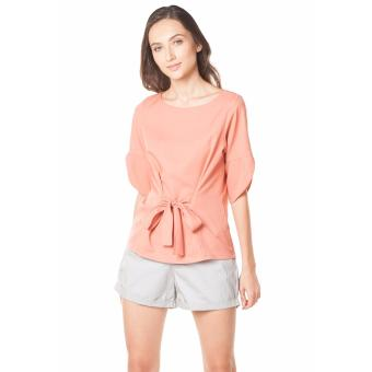 Plains and Prints Shaquille Quarter Sleeves Top - Peach