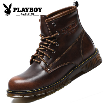 PLAYBOY British men's hight-top Dr. Martens men's shoes (Brown)