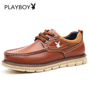 PLAYBOY Korean-style men's leather shoes men's shoes (Brown FY170142)