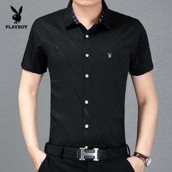 PLAYBOY Korean-style men's Short sleeve men's shirt short sleeved shirt (Black F8918)