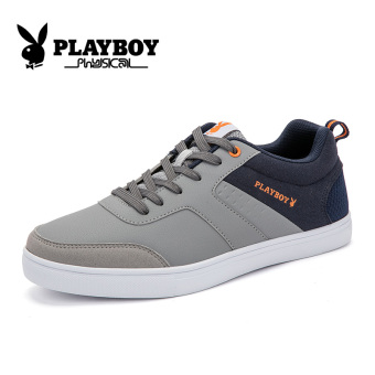 PLAYBOY Korean-style New style Spell color men's men's flat shoes men's shoes (Men's + Dark Grey)