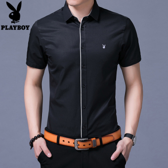 PLAYBOY Korean-style solid color thin Slim fit Top shirt (Black)