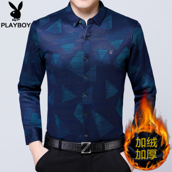 PLAYBOY Plus velvet winter thick business casual shirt long-sleeved shirt (Blue)