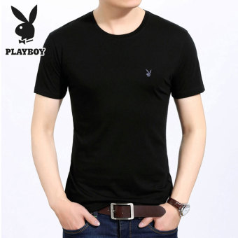 PLAYBOY simple cotton solid color round neck polo shirt T-shirt (Black T20)