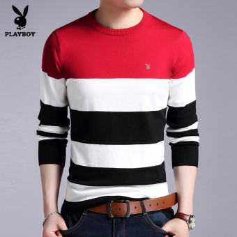 PLAYBOY Stylish men's Autumn and Winter New style knit shirt round neck sweater (Red HP-M823)