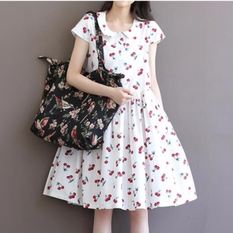 Plus Size Cotton Knee Dress Vintage Cherry Printing Cotton SkirtsFor Lady Women Maternity Pregnant - intl - 4