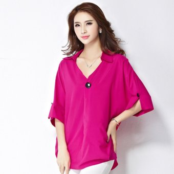Plus Size Elegant Fashion Style Chiffon T-Shirt - Rose Red - intl