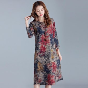 Plus Size Popular Fashion Cotton Pattern Dress - Red - intl