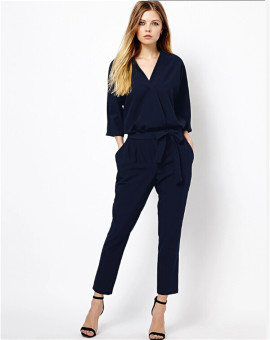 Plus size summer jumpsuits 2016One piece pants long trousers (Dark blue color deep blue) (Dark blue color deep blue)
