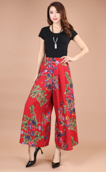 Plus-sized ankle-length pants middle-aged women's pants (Bright Hong)