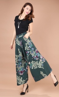 Plus-sized ankle-length pants middle-aged women's pants (Green Meihua)