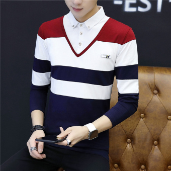 Plus velvet autumn and winter thick shirt collar T-shirt (2112 on the Hong (spring and autumn))