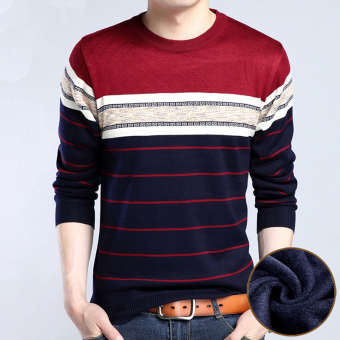 Plus velvet father loaded New style T-shirt men's Top (Y-2 Burgundy Plus velvet thick)