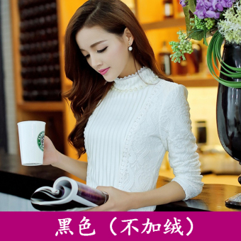 Plus velvet female long-sleeved autumn and winter Korean-style Slim fit Top base shirt (White (not Plus velvet))