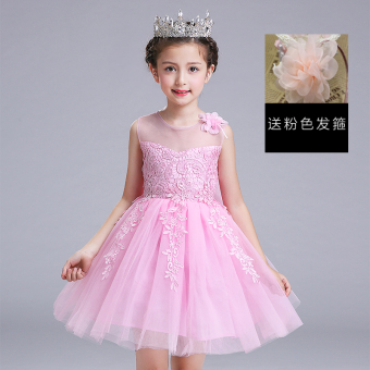 Plus velvet long-sleeved thick warm children's princess dress Dress (Pink)