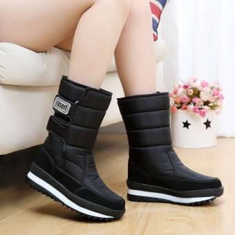Plus velvet waterproof warm cotton-padded shoes thick wool boots snowfield boots (Women's + G11-black)