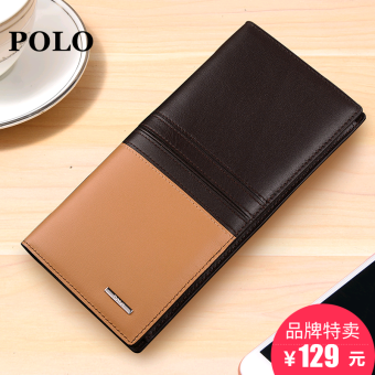 Polo first layer of leather contrasting color men wallet Long Men's wallet