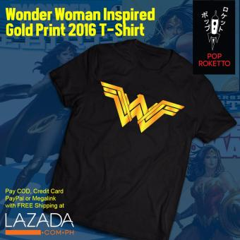 Pop Roketto Wonder Woman Inspired Gold Print T-Shirt (Black)