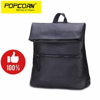 Popcorn BBWJBP0001-1 Europe Classic Style Women/Lady/Female 20Liter Leather Backpack(Black)