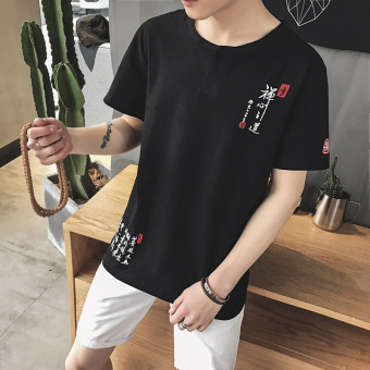 Popular brand embroidered Plus-sized menswear Short sleeve base shirt T-shirt (Black)