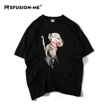 Popular brand Japanese-style cotton face Wu Kong short sleeved shirt T-shirt (Black)