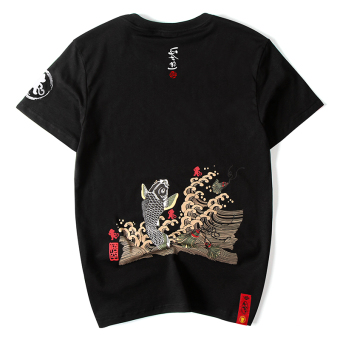 Popular brand Japanese-style cotton monkey carp T-shirt (Black)