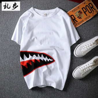 Popular brand Japanese-style cotton Pink Monkey T-shirt (791 VISHARK short T white) (791 VISHARK short T white)