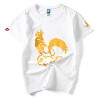 Popular brand Japanese-style cotton Wu Kong Bronze Men's short sleeved t-shirt shirt (White chicken Year Commemorative Models)