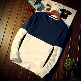 Popular brand Japanese-style Lycra cotton men long-sleeved bottoming shirt v-neck t-shirt (Navy)