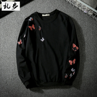 Popular brand Japanese-style men and women round neck pullover embroidered hoodie Korean-style long-sleeved t-shirt (650 embroidered black)