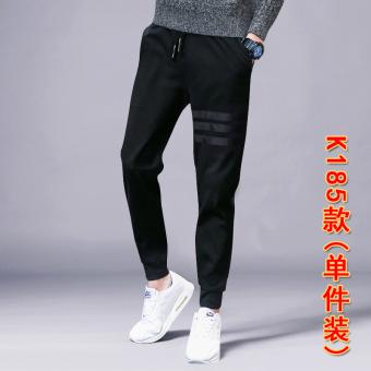 Popular brand Korean-style men skinny sweatpants autumn sports pants (K185 black (one-piece dress))