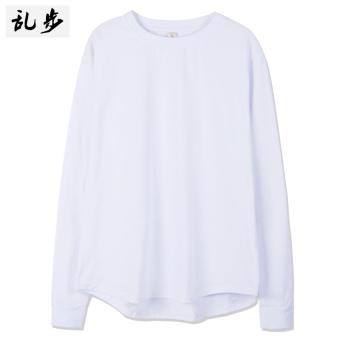 Popular brand solid color arc hem long section T-shirt base shirt (082 solid color long T white)
