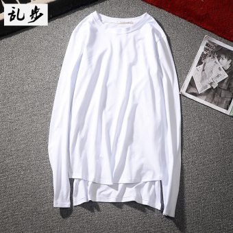 Popular brand solid color long section front short long tXu base shirt (CT019 long-sleeved white)