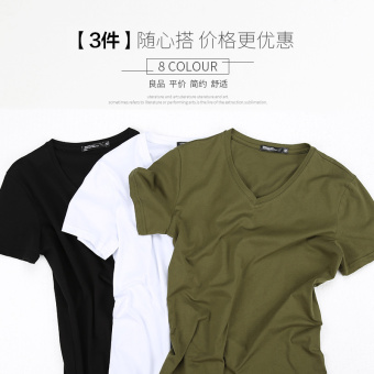 Popular brand solid color men's v-neck on the heattech T-shirt (Short sleeved V-neck-black + white + dark green)