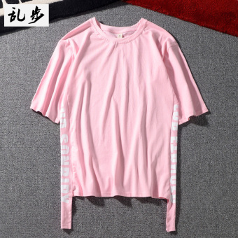Popular brand street cotton men and women ribbon Top T-shirt (542 short sleeved pink color)